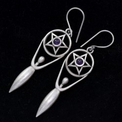 Amethyst Earring 925 Sterling Silver Drop Dangle Earring Oxidized Jewellery Manufacture Silver Jewellery