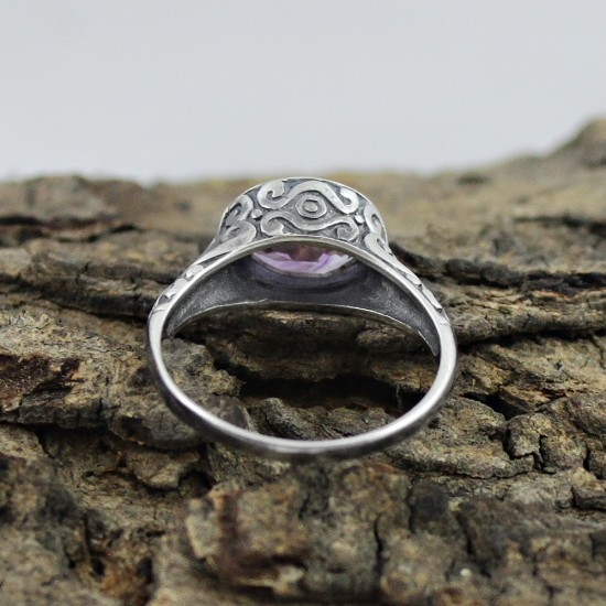 Amethyst Oval Shape 925 Sterling Silver Ring Handmade Jewelry
