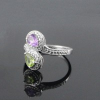 Amethyst Peridot Rhodium Plated 925 Sterling Silver Ring Jewelry