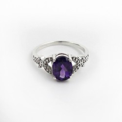 Delicate Beauty !! Amethyst Rhodium Plated 925 Sterling Silver Ring Jewelry