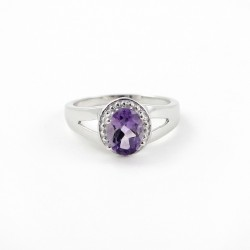 Natural Purple Amethyst Rhodium Plated 925 Sterling Silver Ring