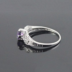 Amethyst Ring 925 Sterling Silver Rhodium Plated Indian Designer Jewelry