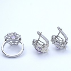 Amethyst Ring Earring Jewellery Set 925 Sterling Silver Rhodium Polished Women Handcrafted Jewellery Sets