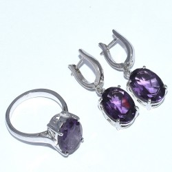 Amethyst Ring Earring Rhodium Polished Jewelry Set 925 Sterling Silver Handmade Silver Jewelry Gift For Her