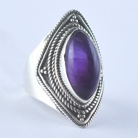 Amethyst Ring Handmade 925 Sterling Silver Oxidized Silver Jewelry Promises Ring Gift For Her