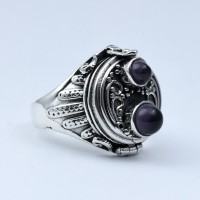 Amethyst Ring Poison Ring 925 Sterling Silver Handmade Oxidized Silver Ring Jewelry