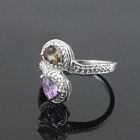 Amethyst Smoky Quartz 925 Sterling Silver Rhodium Plated Ring Jewelry