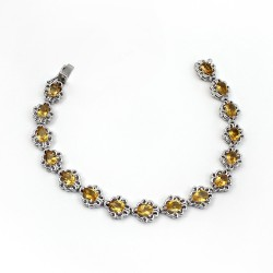 Attractive Look Bracelet !! Natural Citrine Gemstone 925 Sterling Silver Bracelet Jewelry