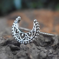 Antique Moon Shape Band Ring Handmade Silver Ring Jewelry 925 Sterling Silver Oxidized Jewelry