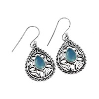 Aqua Chalcedony 925 Sterling Silver Dangle Earring Jewelry Gift For Her