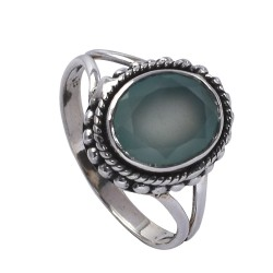 Aqua Chalcedony Ring Boho Ring Oxidized Jewellery Handmade 925 Sterling Silver Ring Jewellery