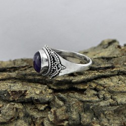 Attractive Amethyst 925 Sterling Silver Ring Indian Silver Jewelry