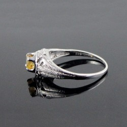 Amazing !! Indian Silver Jewelry Citrine 925 Sterling Silver Rhodium Plated Ring