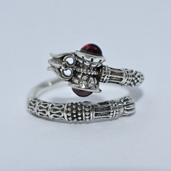Attractive Garnet Ring 925 Sterling Silver Indian Religious Ring Fine Jewelry