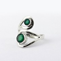 Attractive Green Onyx 925 Sterling Silver Ring Round Faceted Stone Women Handcrafted Jewelry