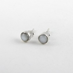 Attractive Moonstone Stud Earring 925 Sterling Silver Party Wear Jewelry