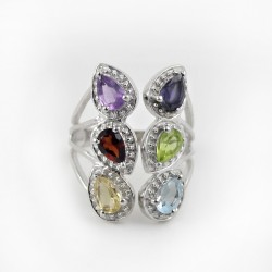 Attractive Multi Stone 925 Sterling Silver Rhodium Plated Ring Jewelry