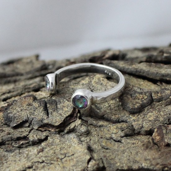 Awesome !! Mystic Topaz Gemstone 925 Sterling Silver Jewelry Ring
