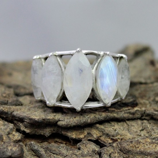 Awesome Marquise Shape Rainbow Moonstone 925 Sterling Silver Ring