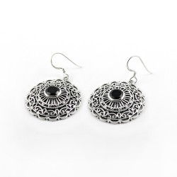 Unique Style !! Black Onyx 925 Sterling Silver Earring Round Shape Bezel Setting