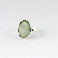 Beautiful Green Prehnite 925 Sterling Silver Handmade Ring Jewelry Engagement Ring Gift For Her