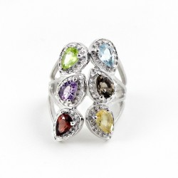 925 Sterling Silver !! Beautiful Multi Stone Rhodium Plated Ring Jewelry