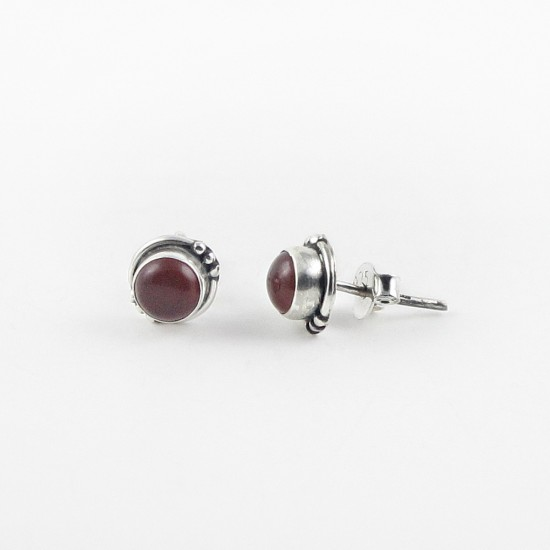 Beautiful Red Onyx 925 Sterling Silver Stud Earring Handmade Jewelry