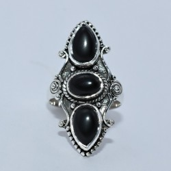 Black Onyx 925 Sterling Silver Handmade Birthstone Ring Boho Ring Jewelry