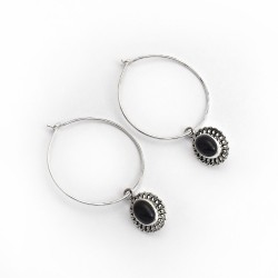 Black Onyx 925 Sterling Silver Hoop Earring Jewelry Gift For Her