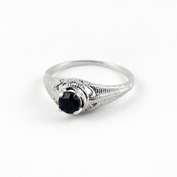Aggressive Oval Shape Black Onyx 925 Sterling Silver Rhodium Plated Ring