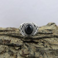 Black Onyx 925 Sterling Silver Solitaire Ring Jewelry