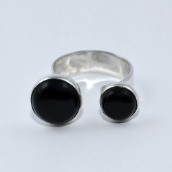 Black Onyx Open Ring 925 Sterling Silver Round Shape Ring Jewelry Gift For Her
