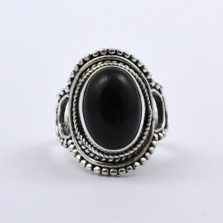 Natural Black Onyx Ring 925 Sterling SIlver Oxidized Silver Jewelry Boho Ring Jewelry