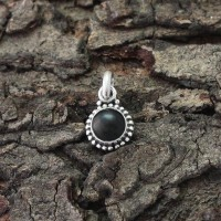 Black Onyx Round Shape 925 Sterling Silver Pendant Indian Silver Jewelry