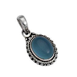 Natural Blue Chalcedony 925 Sterling Silver Charming Pendant Boho Jewelry
