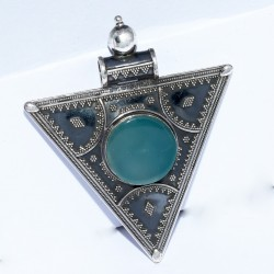 Blue Chalcedony Pendant 925 Sterling Silver Handmade Oxidized Silver Jewelry For Her
