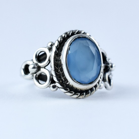 Blue Chalcedony Ring 925 Sterling Silver Boho Ring Birthstone Ring Indian Silver Ring Jewellery