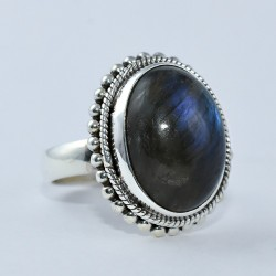 Blue Fire Labradorite 925 Sterling Silver Ring Oval Shape Handmade Unique Jewelry