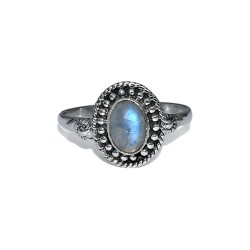 Blue Fire Rainbow Moonstone 925 Sterling Silver Ring Handmade Jewelry Gift For Her
