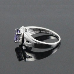 Adorable Oval Shape Blue Iolite 925 Sterling Silver Rhodium Plated Ring Jewlry