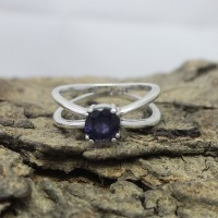 Blue Iolite Gemstone 925 Sterling Silver Ring Jewelry