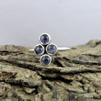 Natural Blue Iolite Gemstone 925 Sterling Silver Ring Jewelry