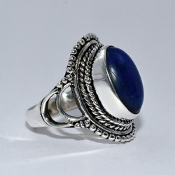 Blue Lapis Lazuli Oval Shape 925 Sterling Silver Boho Ring Birthday Present Gift Jewelry
