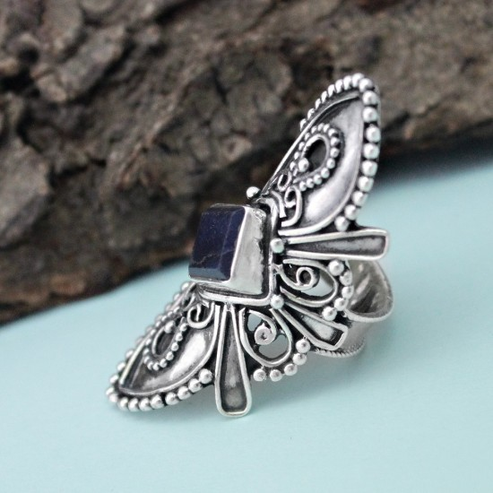 Actual Square Shape Lapis Gemstone 925 Sterling Silver Ring