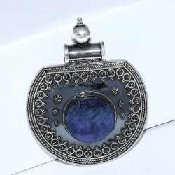 Gorgeous !! Blue Lapis Lazuli Pendant 925 Sterling Silver Handmade Oxidized Silver Jewelry Indian Silver Jewelry