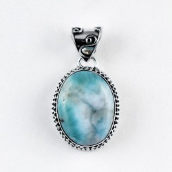 Blue Larimar Pendant 925 Sterling Silver Oxidized Silver Pendant Jewellery Gift For Her