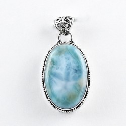 Blue Larimar Pendant Handmade 925 Sterling Silver 925 Stamped Jewelry Exporter Indian Jewelry