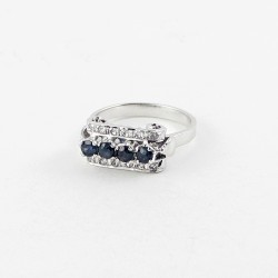 Rectangle Shape Blue Sapphire 925 Sterling Silver Rhodium Plated Ring