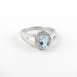 Amazing !!Blue Topaz 925 Sterling Silver Rhodium Plated Ring Party Wear Jewelry