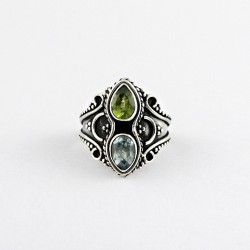 Blue Topaz Peridot Handmade Solid 925 Sterling Silver Boho Ring Oxidized Silver Ring Jewelry